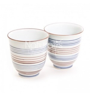TASSES YUNOMI 190 ML BLEUES ROUGES X 2