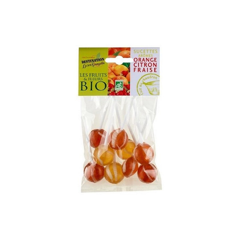SUCETTES ORANGE / CITRON / FRAISE - 100 GR