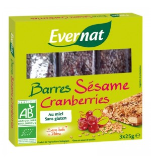 BARRE SESAME CRANBERRIES - 75 GR