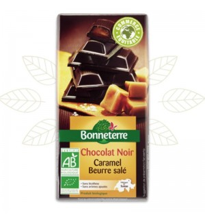 TABLETTE DE CHOCOLAT NOIR FOURRE CARAMEL SALE - 100 GR