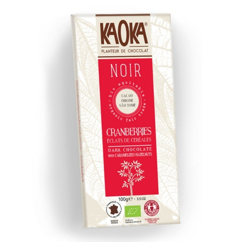 TABLETTE CHOCOLAT NOIR 66 % CRANBERRIES ET CEREALES - 100 GR