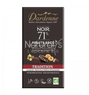 CHOCOLAT NOIR 71 % FRUITS SECS - 180 GR