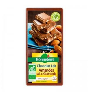 TABLETTE CHOCOLAT LAIT AMANDES SEL DE GUERANDE - 100 GR