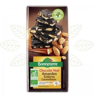 TABLETTE CHOCOLAT NOIR AMANDES CARAMELISEES - 200 GR