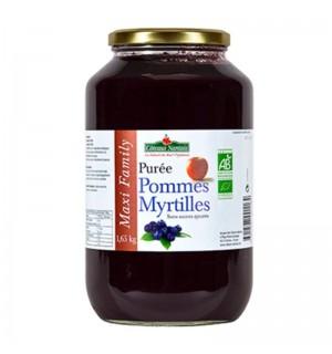 PUREE POMMES MYRTILLES SANS SUCRE AJOUTE - 630 GR
